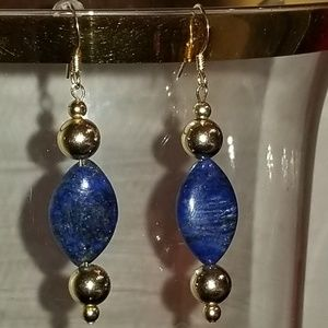 Jewelry - Lapis Lazuli & Gold Beaded Pierced Earrings
